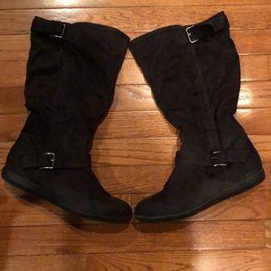 Report Shanna women's black knee high boots 9W